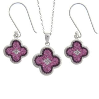 Sterling Silver Pink, Purple and White Crystal Clover Design Jewelry