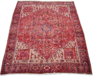 Heriz Hand knotted Red/Navy Rug 10 x 13 (Iran)