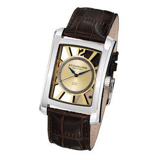 Stuhrling Original Mens Gatsby Skeleton Quartz Leather Strap Watch
