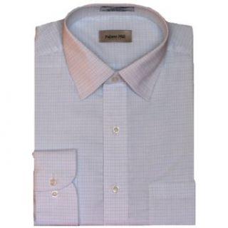 Blue White Pin Check Dress Shirt (100% Premium Cotton) (XL