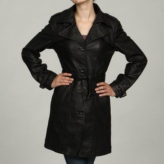 Izod Womens Black Lambskin Leather Belted Trench Coat