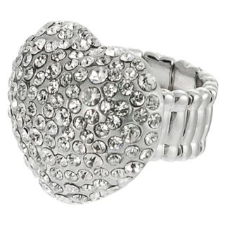 Journee Collection Stainless Steel Czech Crystal Heart Stretch Ring