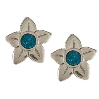 Southwest Moon Silvertone Turquoise Inlay Flower Post Earrings
