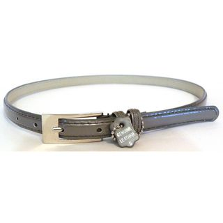 Womens Silver Leather Skinny Belt