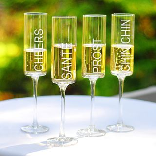 Cheers Contemporary Champagne Flutes (Set of 4)