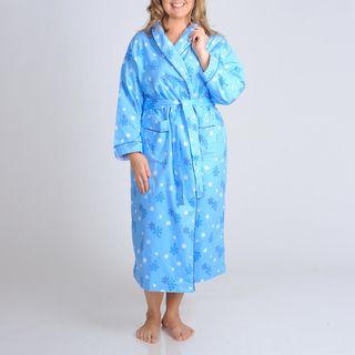La Cera Womens Plus Size Blue Snowflake Print Flannel Wrap Robe