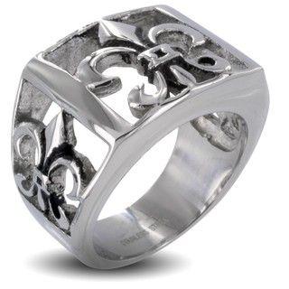 Stainless Steel Mens Fleur De Lis Cutout Ring