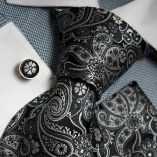 Black Patterned Woven Silk Tie Handkerchiefs Cufflinks