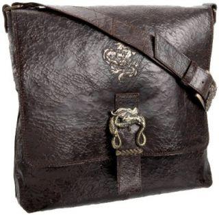 Mark Nason Cracked Leather Messenger Bag,Dark Brown,one size Shoes