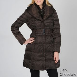 Ivanka Trump Womens Belted Down Coat with Shawl Collar