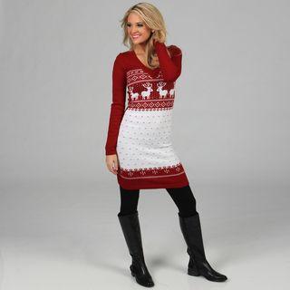 White Mark Womens Boston Red/ White Sweater Dress
