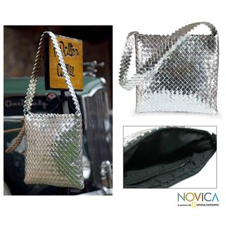 Recycled Metalized Wrapper Moonlight Medium Shoulder Bag (Guatemala