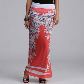 Tabeez Red Floral Maxi Skirt