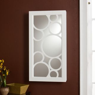 Tenley Frosty white Ready to hang Wall mount Jewelry Storage Mirror
