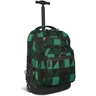 World Green Block Rolling Backpack with Laptop Sleeve