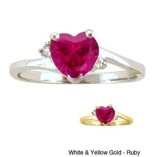 10k Gold Birthstone and Diamond Heart Ring