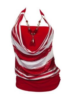 Plus size Red Glitter print Necklace accented O ring strap
