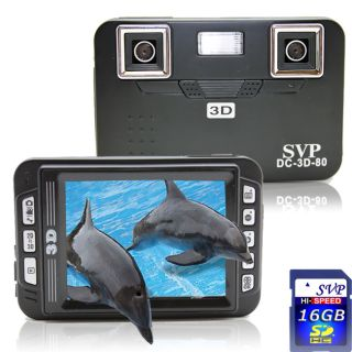 SVP DC 3D 80 Black 3D Digital Camera with 16GB SD Card
