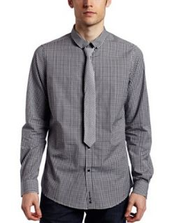 Ben Sherman Mens Kensington Collar Woven Shirt,White,X