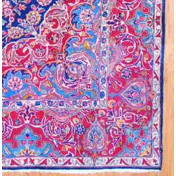 Hand knotted Navy/ Red Tabriz Wool Rug (98 x 1211)