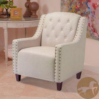 Christopher Knight Home Gabriel Tufted Dark Beige Fabric Club Chair