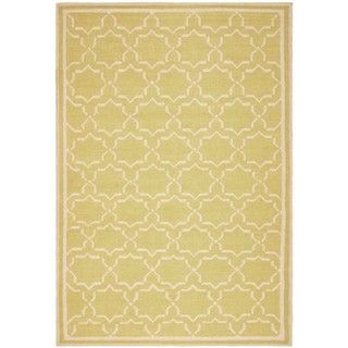 Handmade Green/ Ivory Dhurrie Wool Rug (8 x 10)