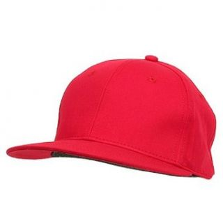 Flat Bill 6 Panel Fitted Cap Red W32S63D Clothing