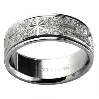 Stainless Steel Mens Diamond cut Starburst Wedding style Band