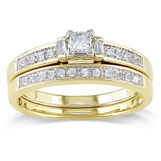 Miadora 14k Yellow Gold 1/3ct TDW Diamond Bridal Ring Set (G H, I1 I2