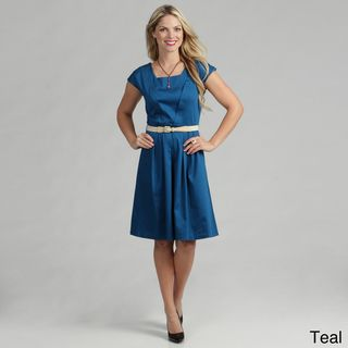 Tabeez Womens Belted Cotton Sateen Dress