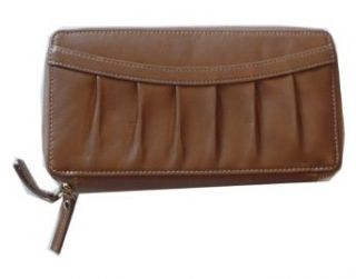 Tusk Leather Pleated Front Double Zip Clutch Wallet