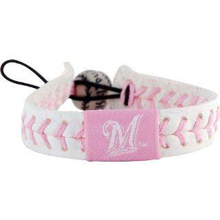 MLB Milwaukee Brewers Pink Baseball Bracelet Sports