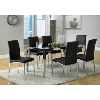 Emilio 7 piece Black Glass Rectangular Dining Set