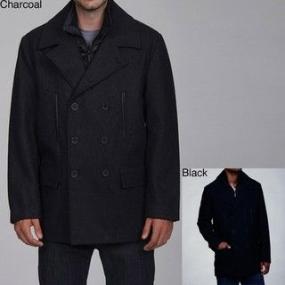 Buffalo by David Bitton Mens Wool Blend Double breasted Peacoat