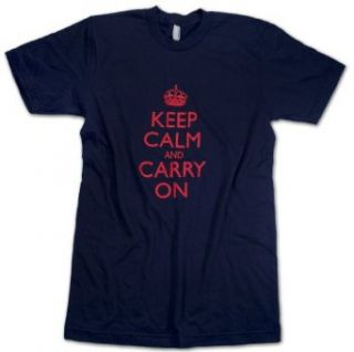 Keep Calm and Carry On Mens & Womens Navy T Shirts w