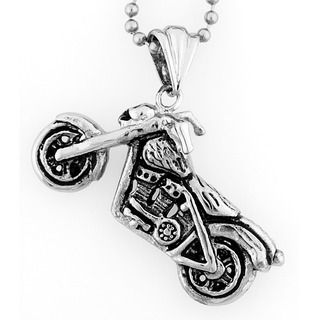 Stainless Steel Skull Motorcycle Necklace