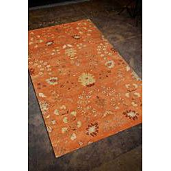 Tufted Orange/ Red Floral Wool Area Rug (96 x 136)