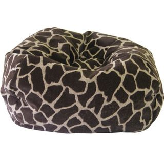 Jumbo Round Giraffe Sueded Bean Bag