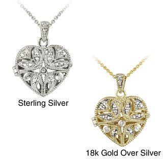 DB Designs Sterling Silver Diamond Accent Filigree Heart Locket