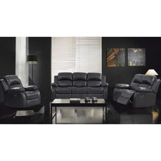 Piece Rotunda Black Sofa and Recliner Set