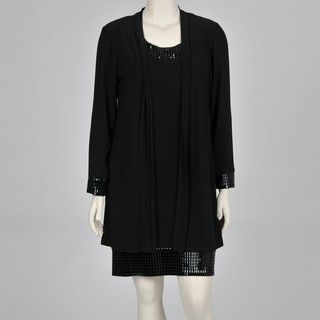 Onyx Nites Womens Plus size Black Two Piece Sequin trim Dress and