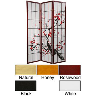 Wood and Rice Paper Flower Blossom 3 panel Room Divider (China