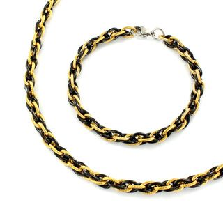 Stainless Steel Black and Goldtone Link Jewelry Set
