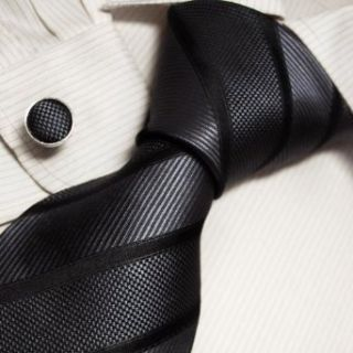 Black Striped Mens Dress Ties Stripes Valentine Gift for
