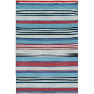 Flat Weave Red/ Blue Wool Rug (10 x 14)
