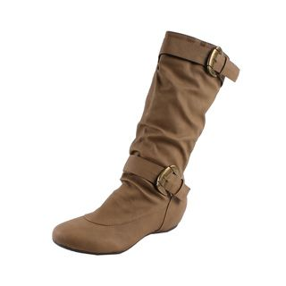 Fashion Focus by Beson Womens Camel Buckled Knee high Boos