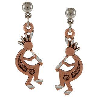 Southwest Moon Copperplated Kokopelli Ball Post Earrings