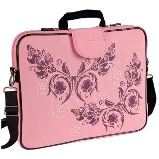 Fuji Depot 15.6 inch Pink Butterfly Handled Laptop Sleeve