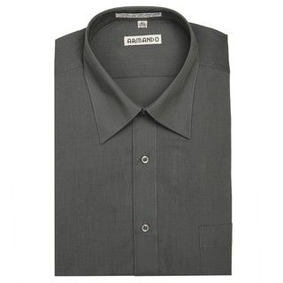Armando Mens Charcoal Convertible Cuff Dress Shirt