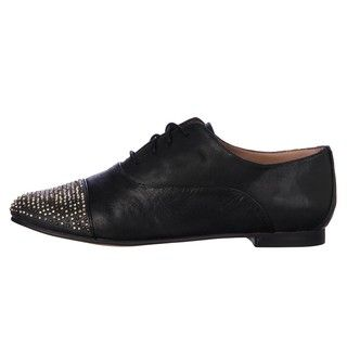 Steve Madden Womens Tapps Black Multi Studded toe Oxfords